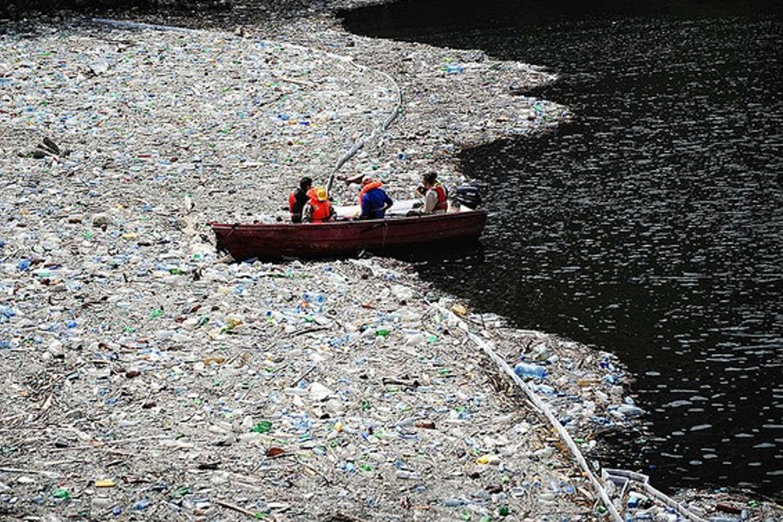 plastic filled dam