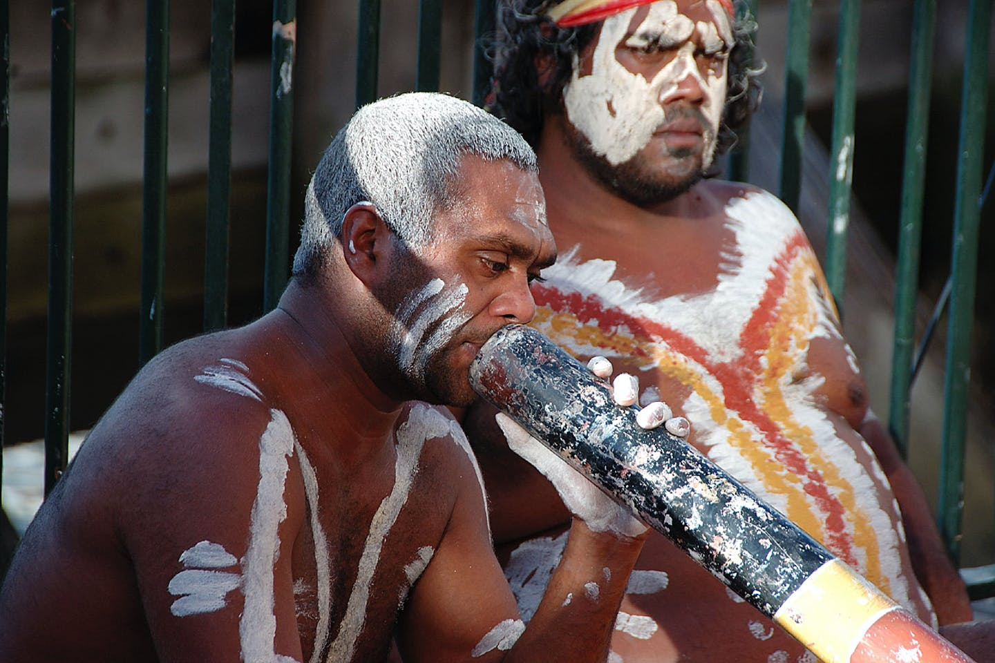 Australian aborigine plays a didgeridoo