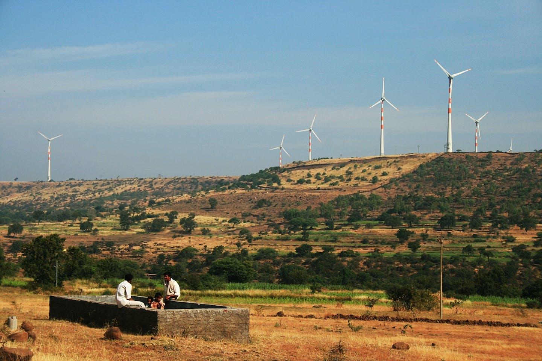 wind turbines on hilltops