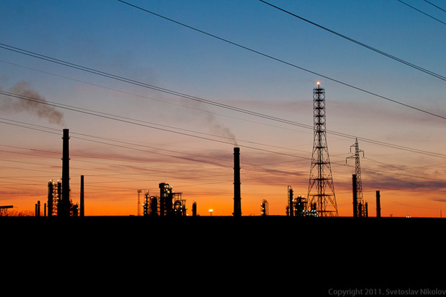 oil company at sunset