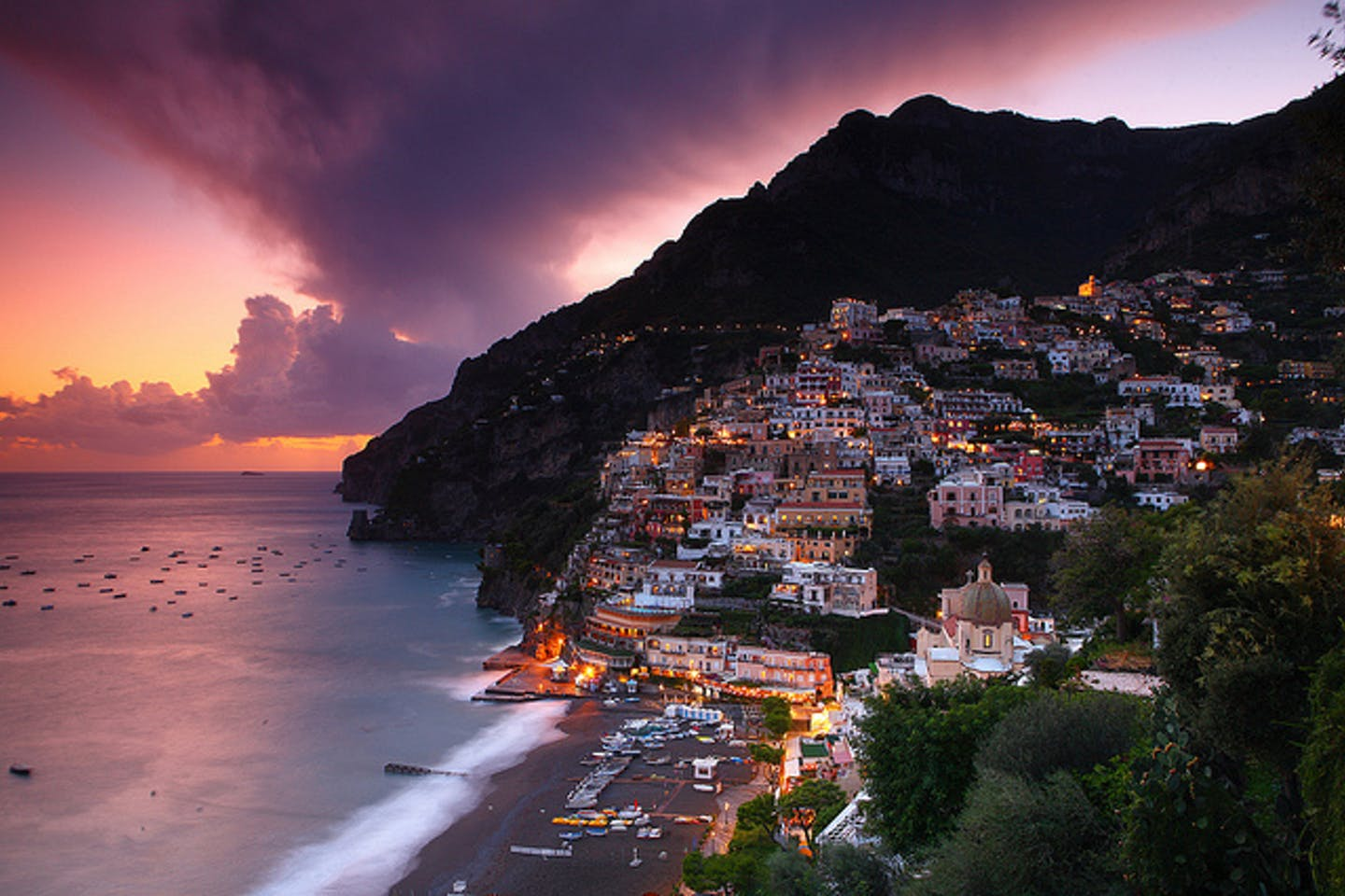 Positano Amalfi Coast, Italy, at dusk