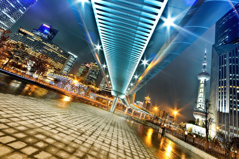 A futuristic Shanghai at night