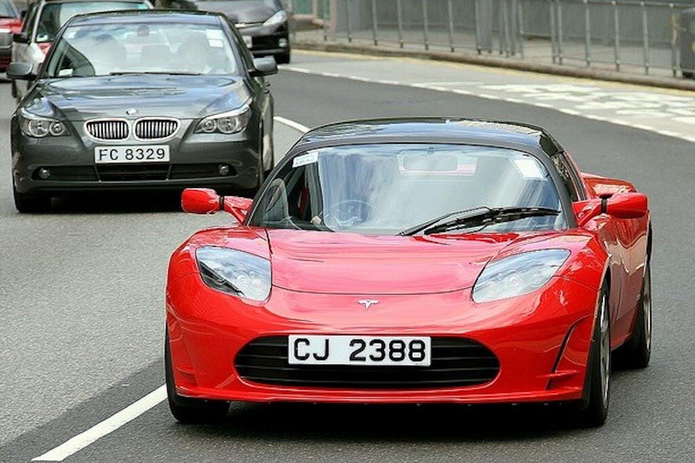 Tesla roadster in HK