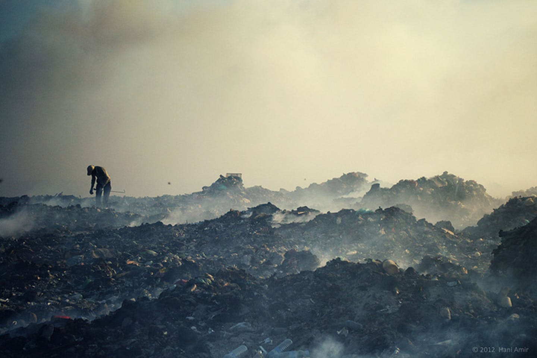 mountain of smouldering scrap