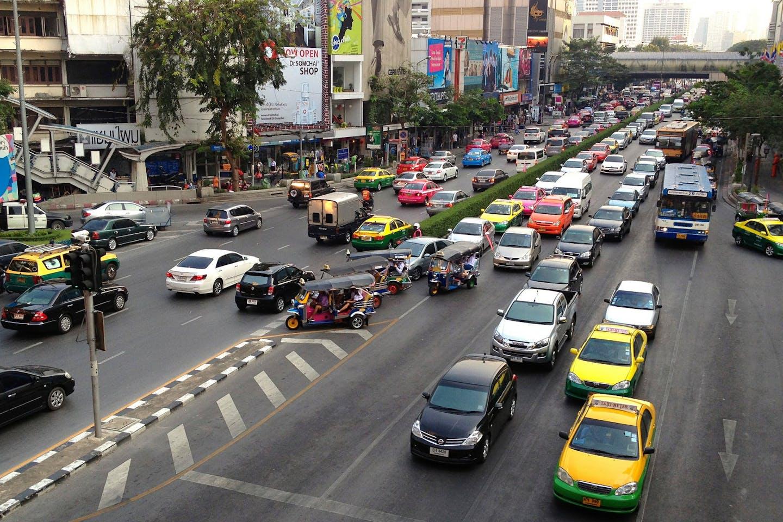 Gridlock in downtown Bangkok, Thailand