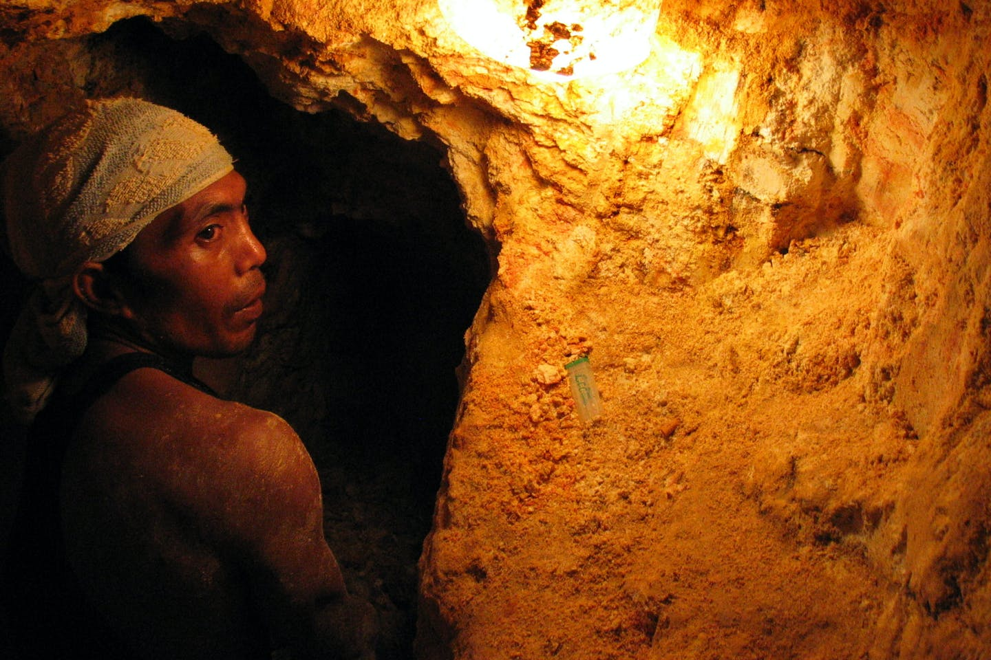 Man in a mine in Bicol, the Philippines