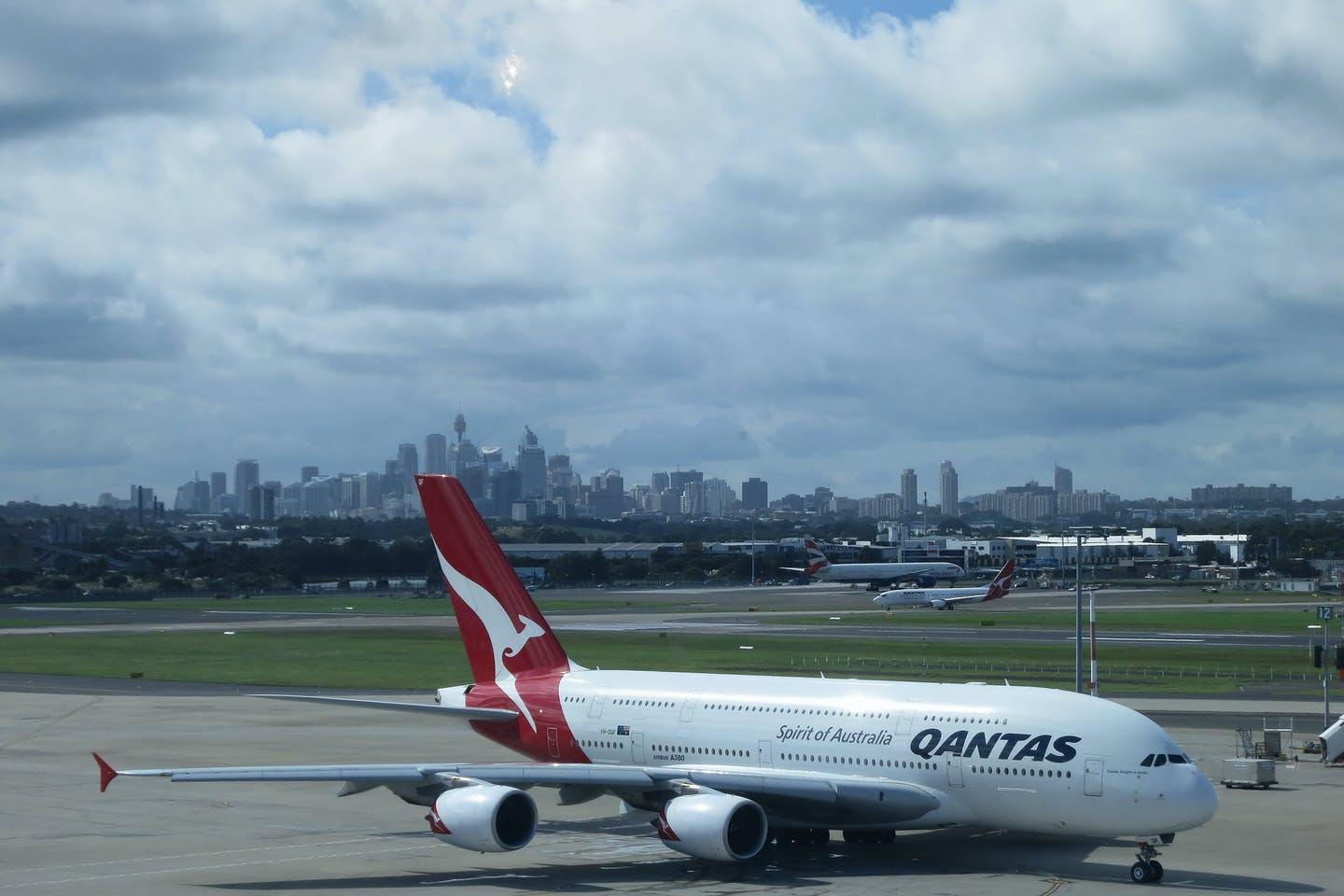 A Qantas plane on the runway at Sydney's aiport