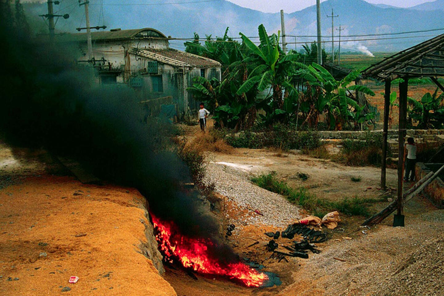 open burning of plastic in China