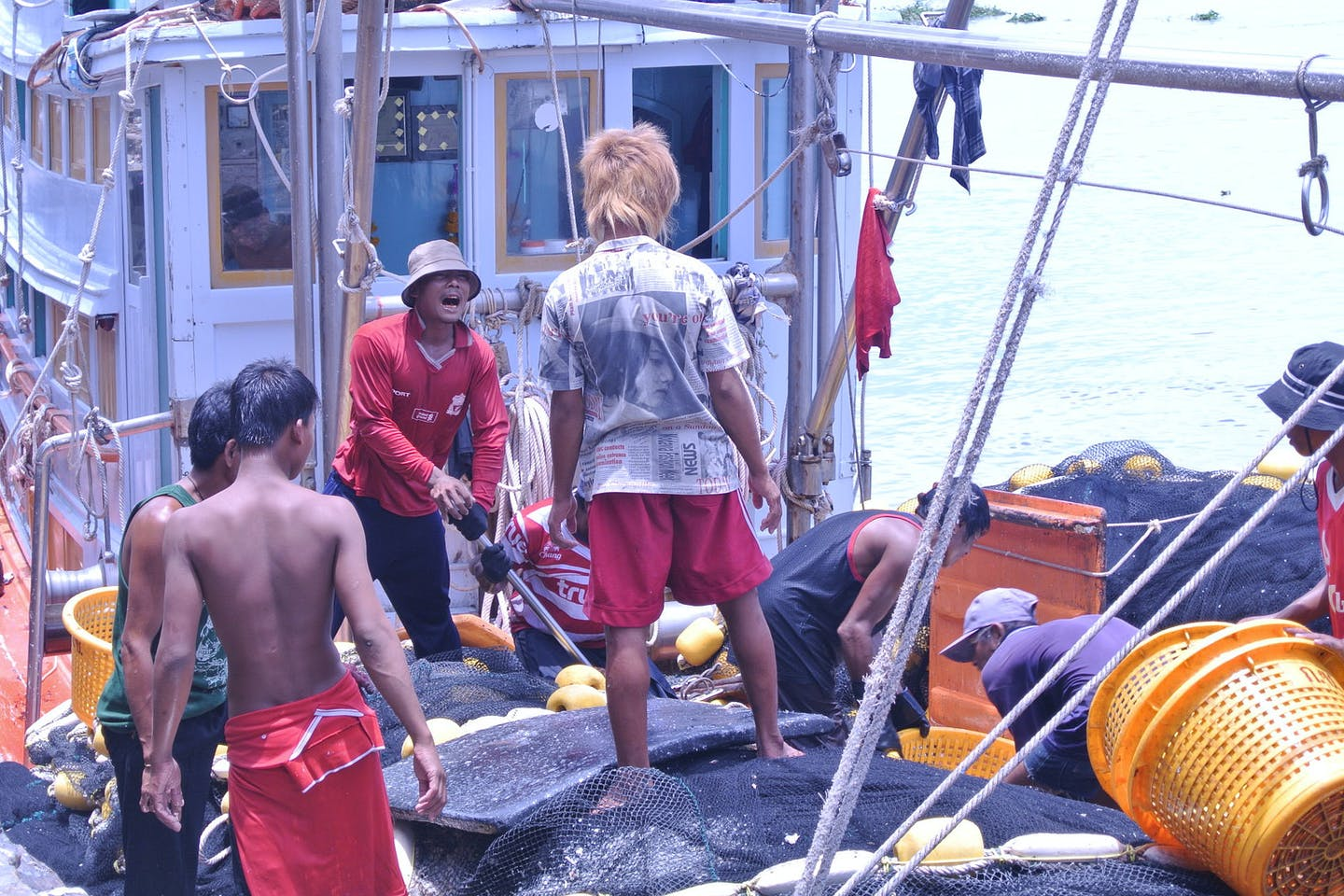 migrant workers on a Thai boat
