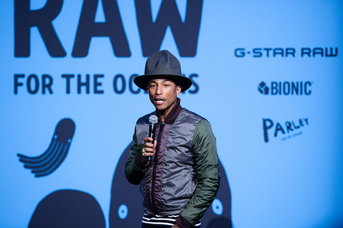 Pharrell Williams at the Raw for Oceans launch