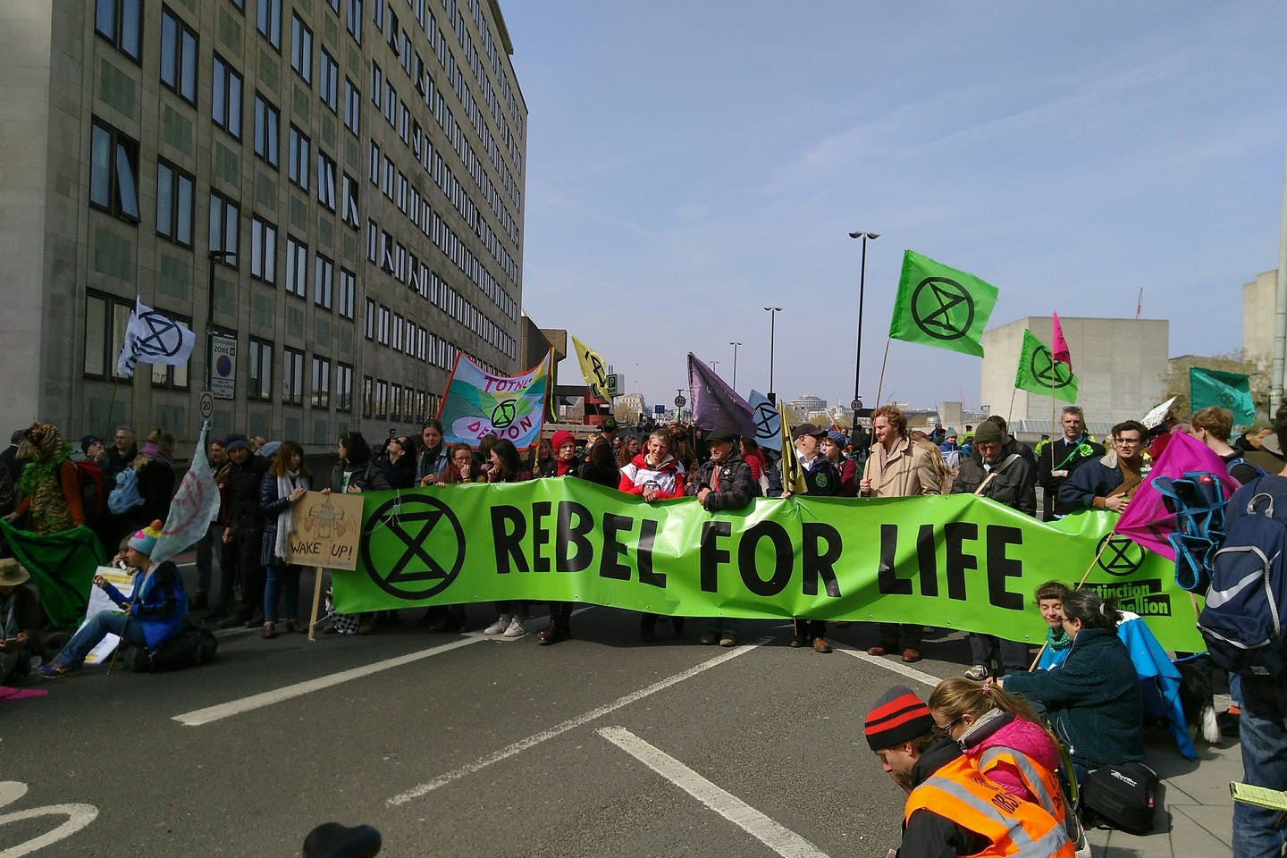 Extinction Rebellion protests near Waterloo Bridge, central London.