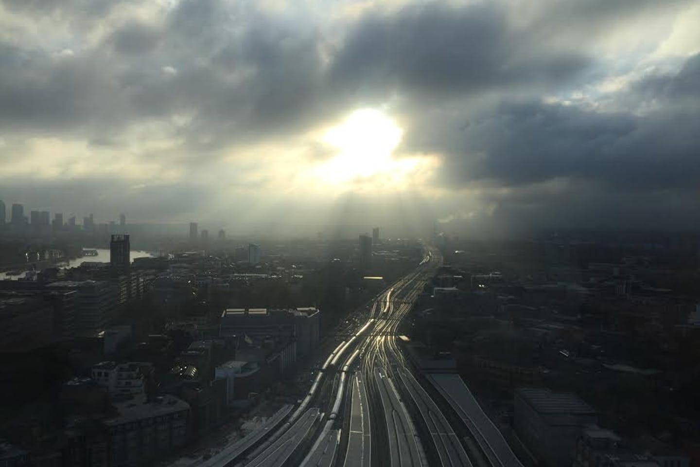 The view from Dan Wells' office at The Shard, Central London.
