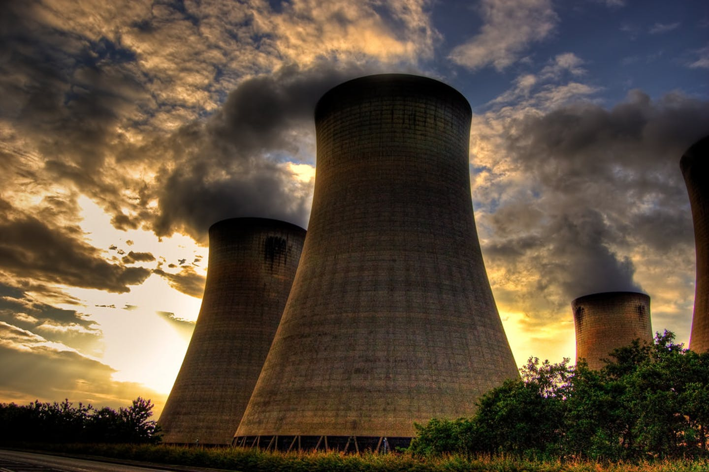 The four eastern cooling towers at the Drax coal-fired power station in North Yorkshire.