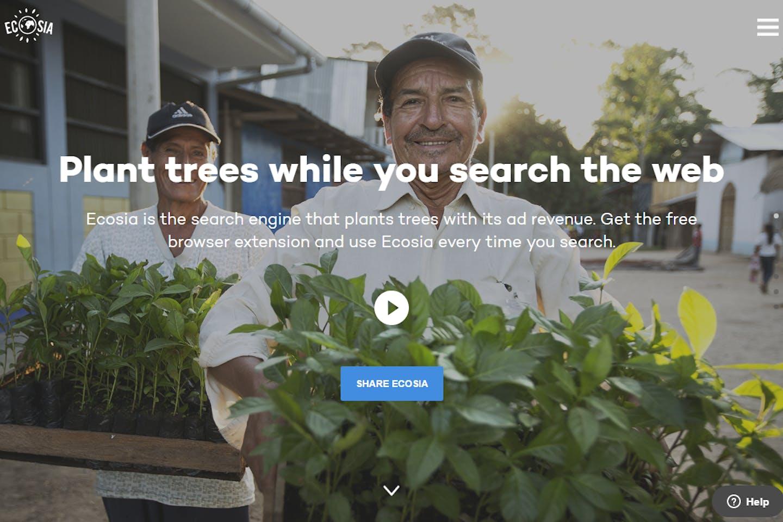 Ecosia search engine home page