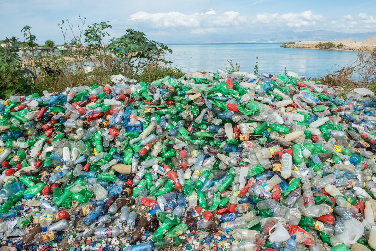 Plastic waste on a beach in Haiti, where Dell launched its ocean-bound plastic pilot project.