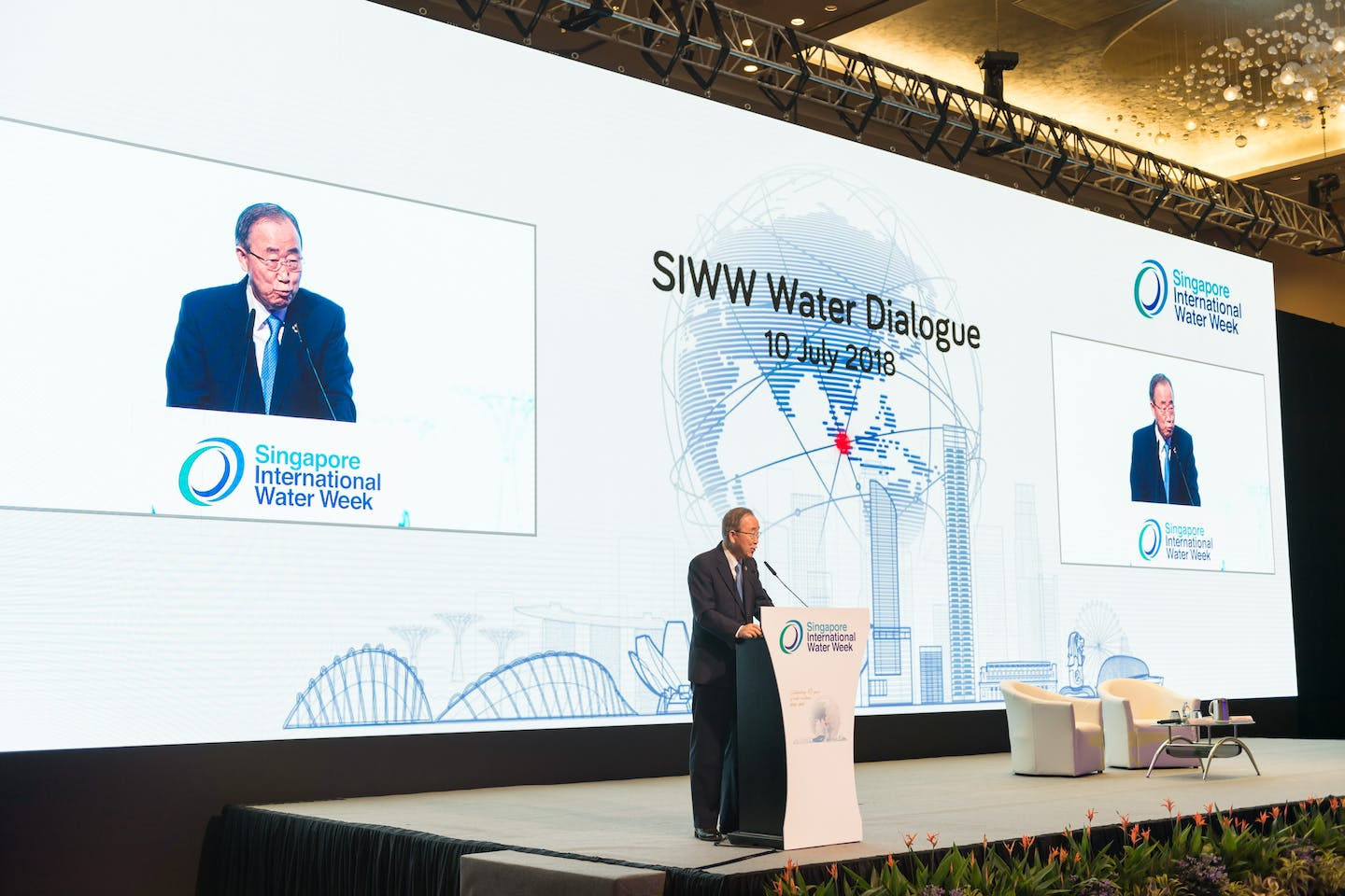 In a rousing keynote address during the Singapore International Water Week's Water Leaders Summit, former United Nations secretary-general Ban Ki-moon called for more global partnerships to tackle the world's water problems.