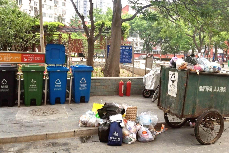 Segregation bins in a Beijing community