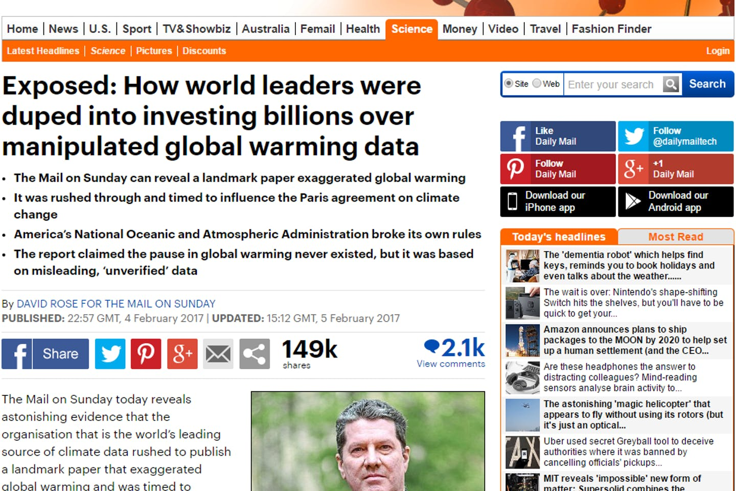 Mail Online's story disparaging climate science has been criticised for being inaccurate