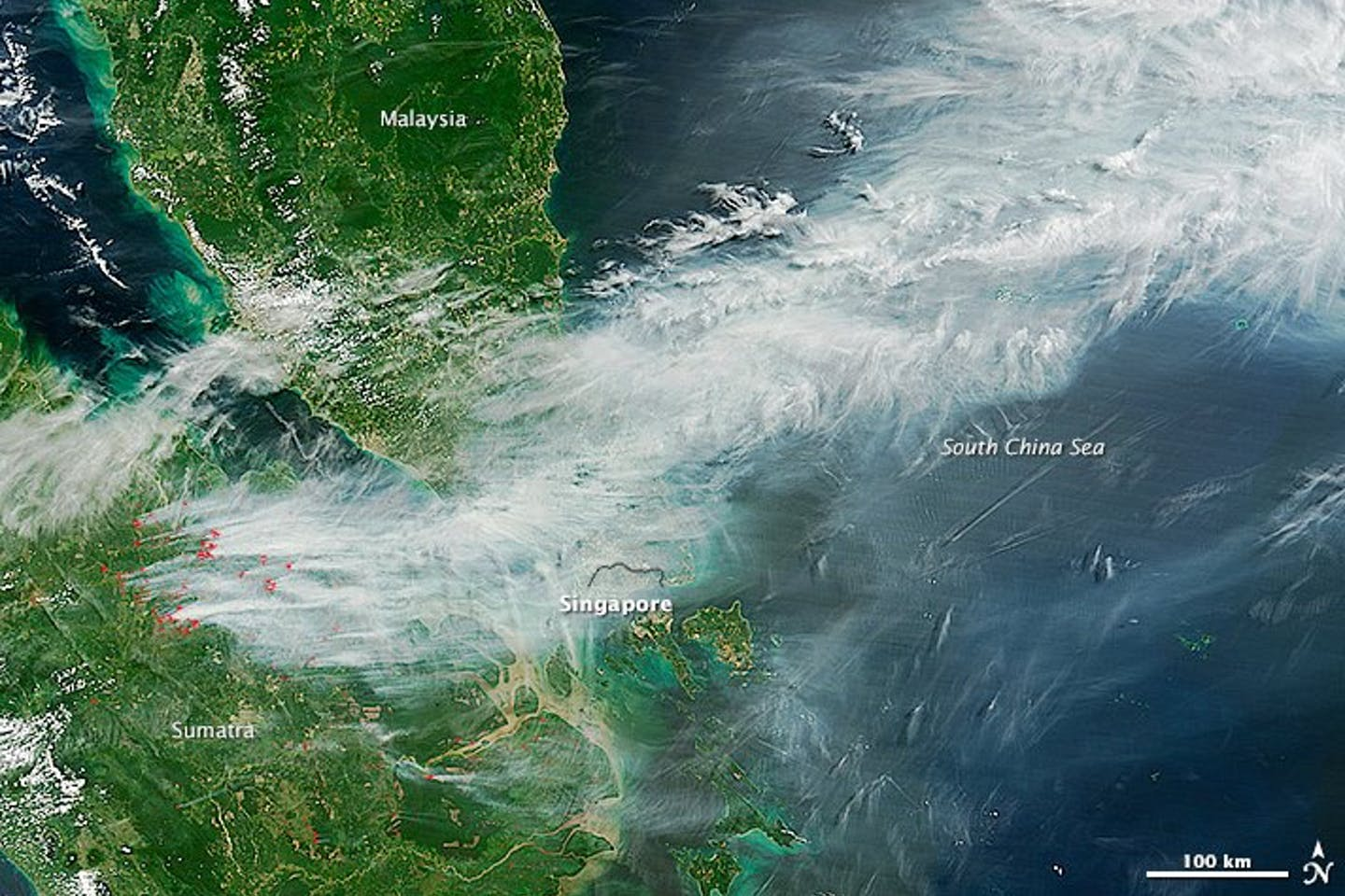 smoke aerial haze indonesia