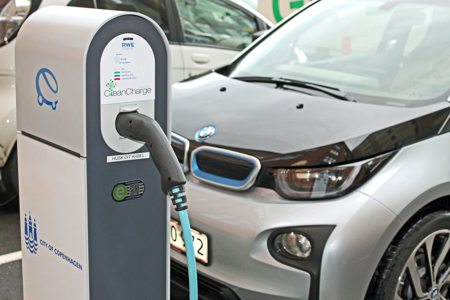 A bmw electric car charging