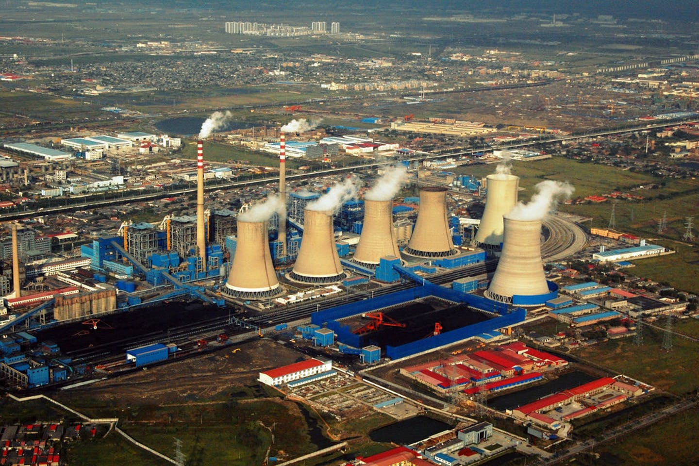An aerial view over a power plant in the Chinese city of Tianjin