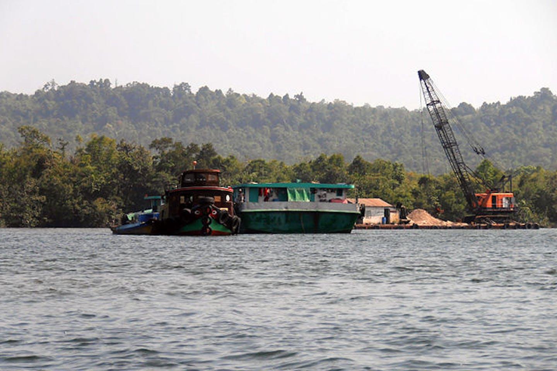 Sand mining in Tatai river Cambodia