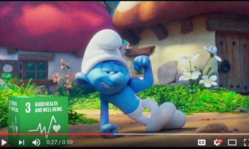 Ahead of International Day, UN and Smurfs team up to promote happiness and sustainable development