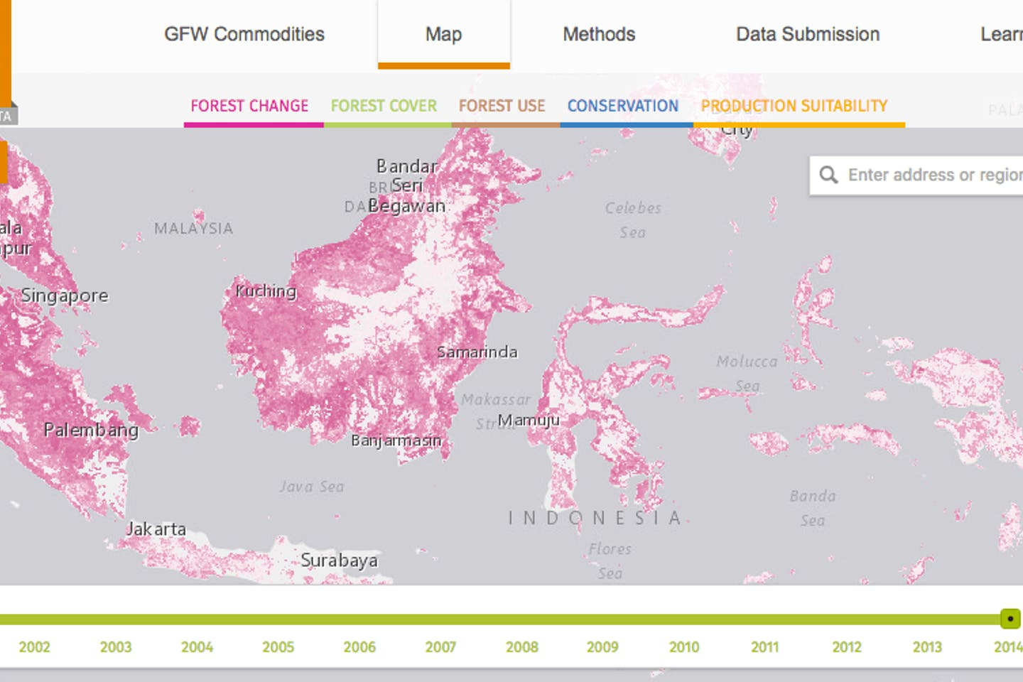 World Resources Institute's Global Forest Watch Commodities platform shows companies where deforestation is happening. Image: WRI