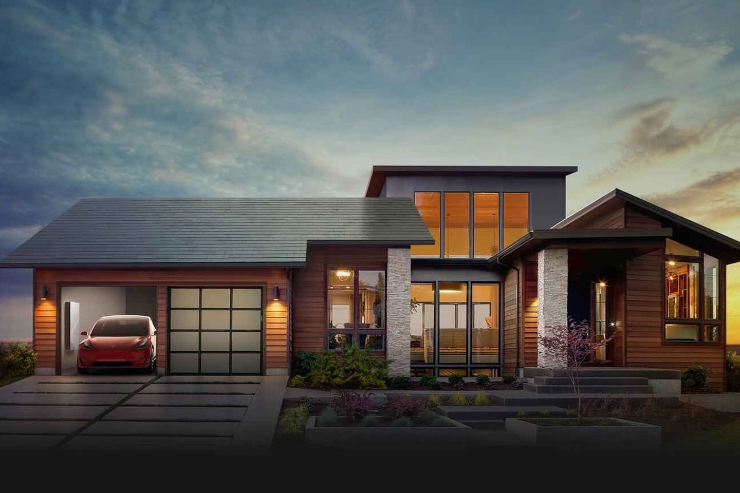 Model home with solar roof tile