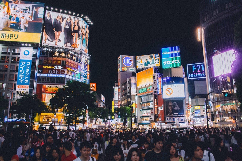 Shibuya's busy crossing in Tokyo, Japan