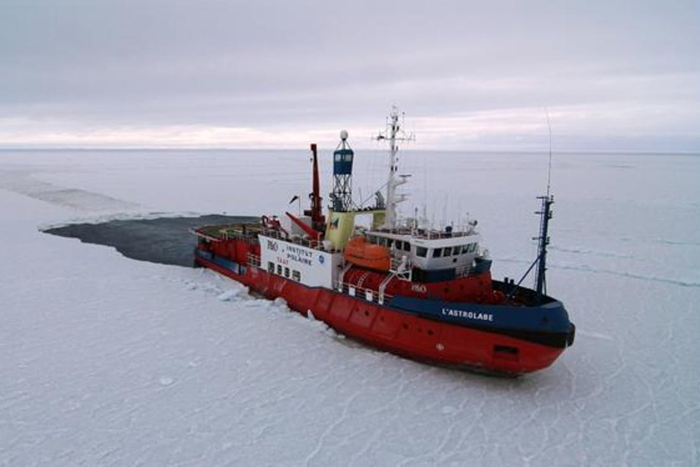 Antarctica ice-blocked vessel