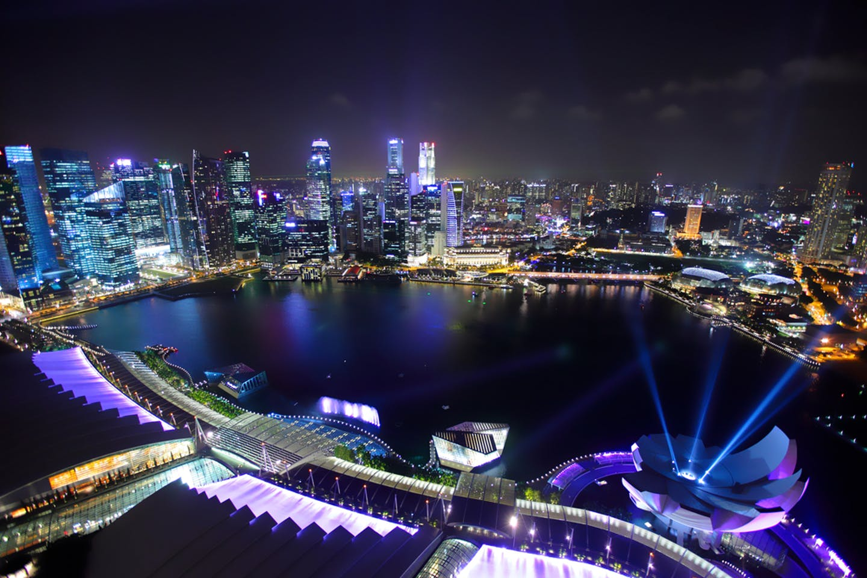 singapore blue lights skyline