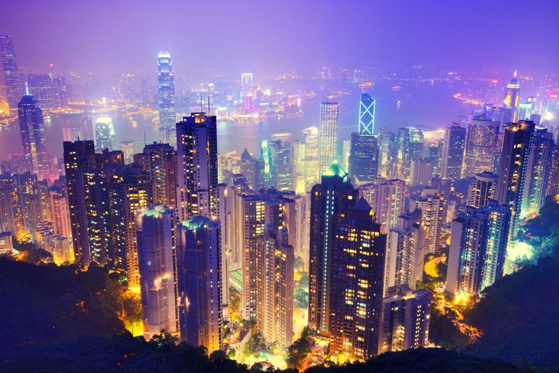 hong kong purple skyline