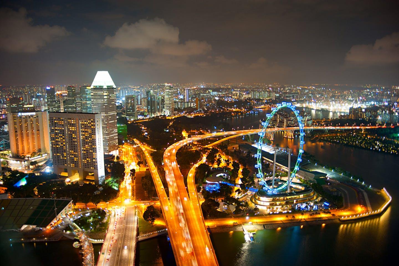 singapore aerial night