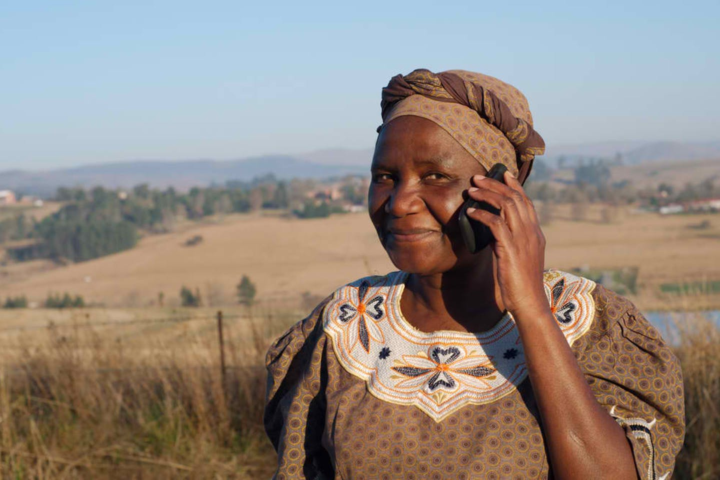 South African woman with mobile