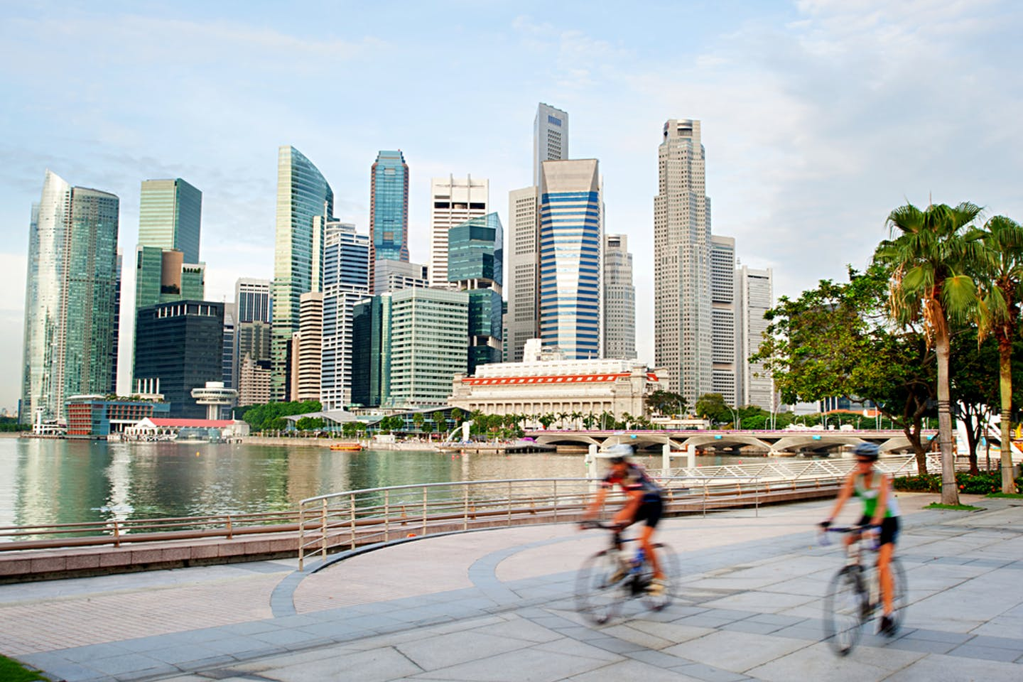 Cyclists in Singapore CBD