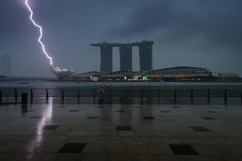 Marina Bay Sands stormy
