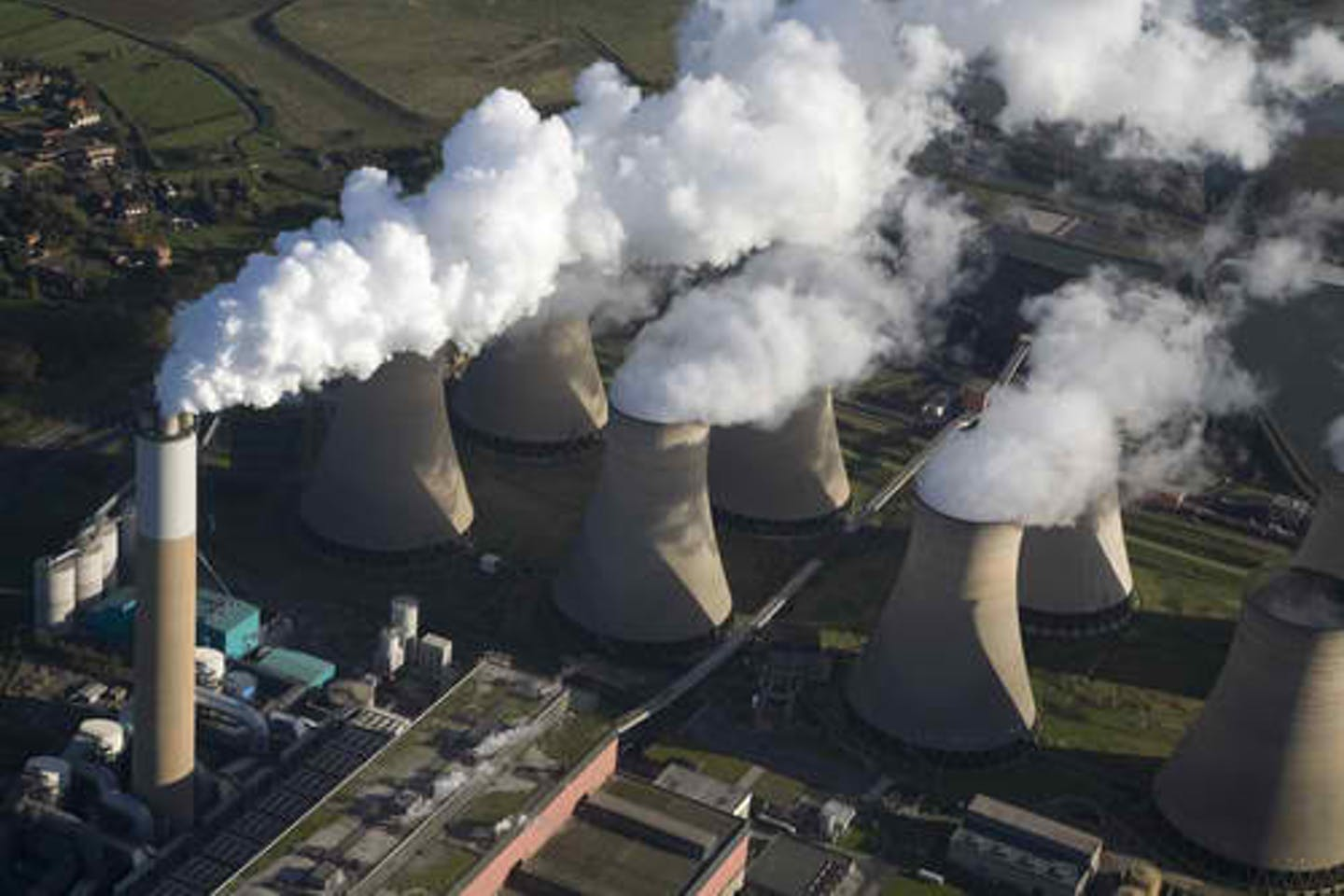 coal fired plant emissions aerial