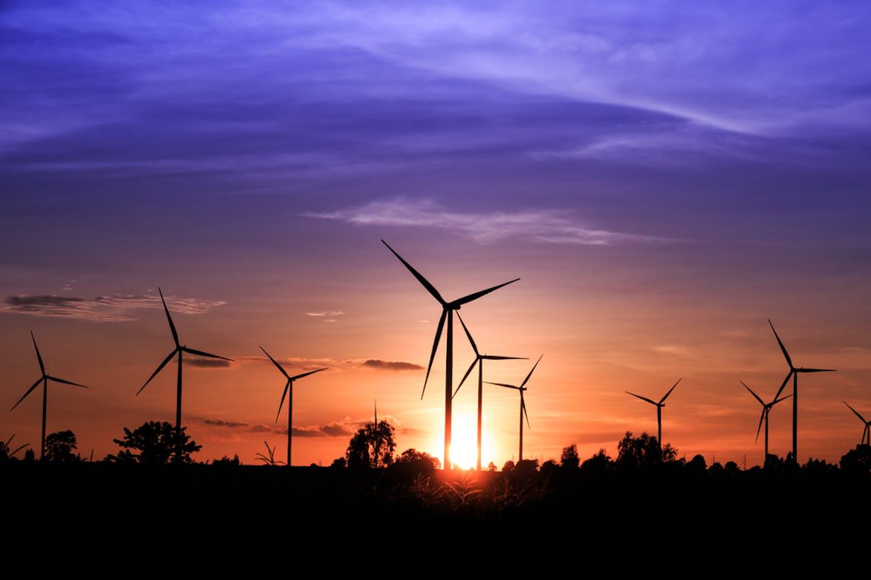 wind turbines purple sky