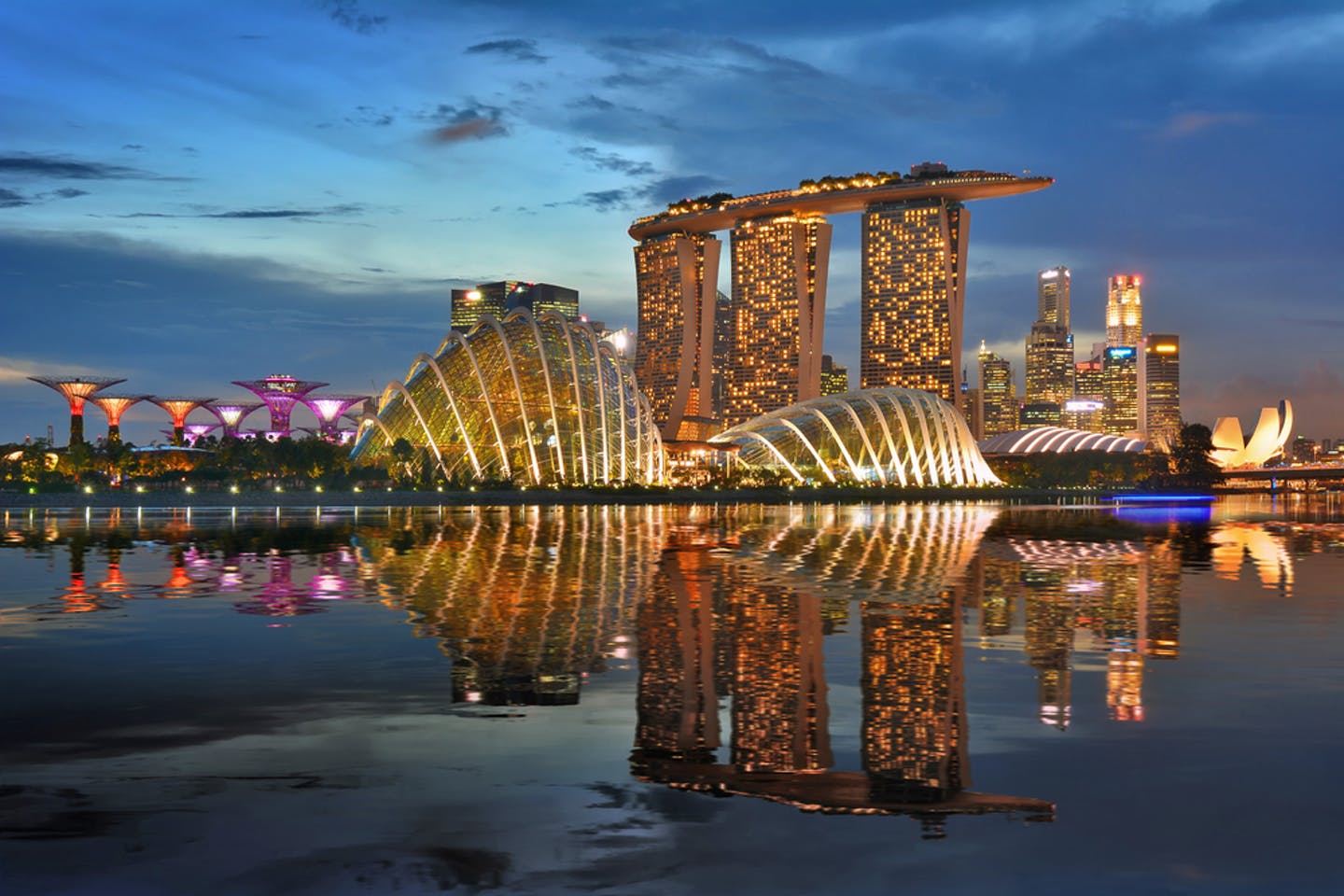 singapore brightly lit