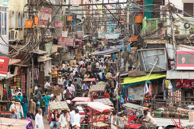 crowded delhi street scene