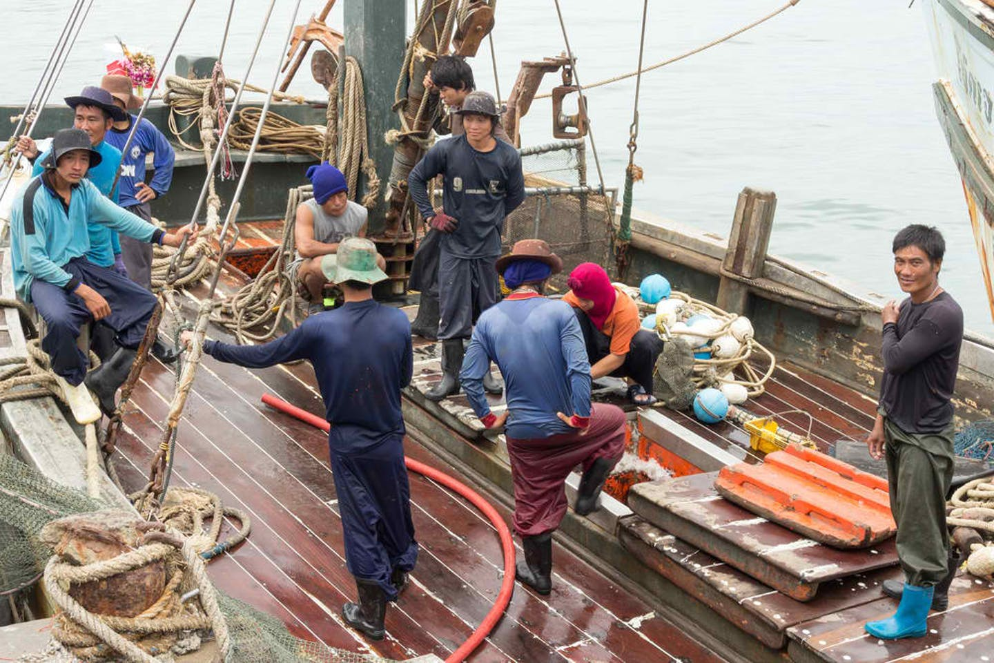 Burmese fishing crew onboard Thai fishing boat
