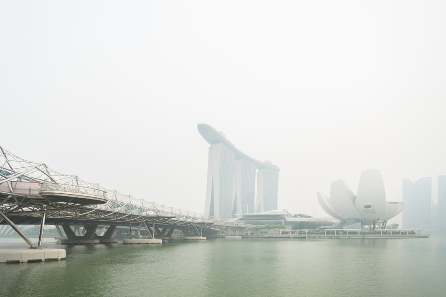 marina bay shrouded in haze