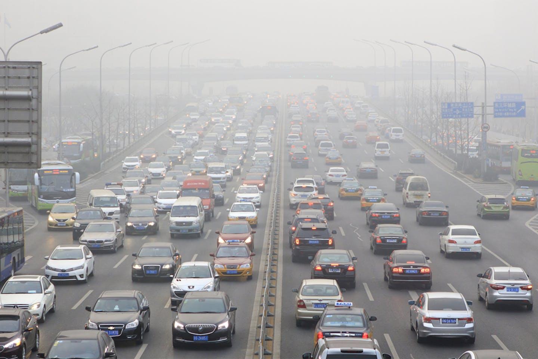 beijing traffic jam smog