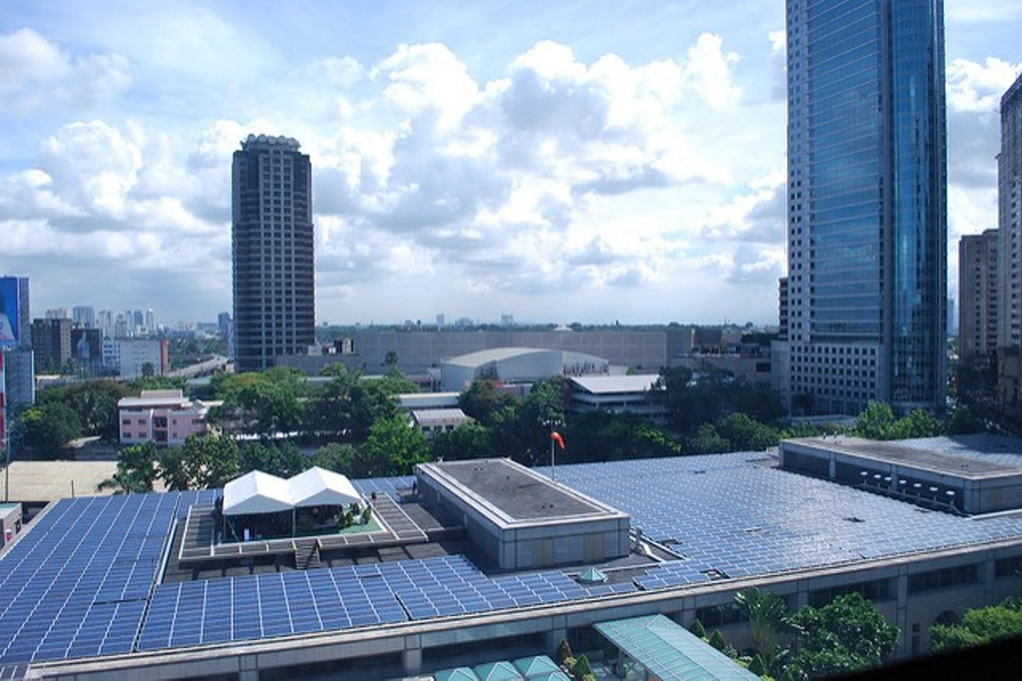 Solar panels on a rooftop in Manila
