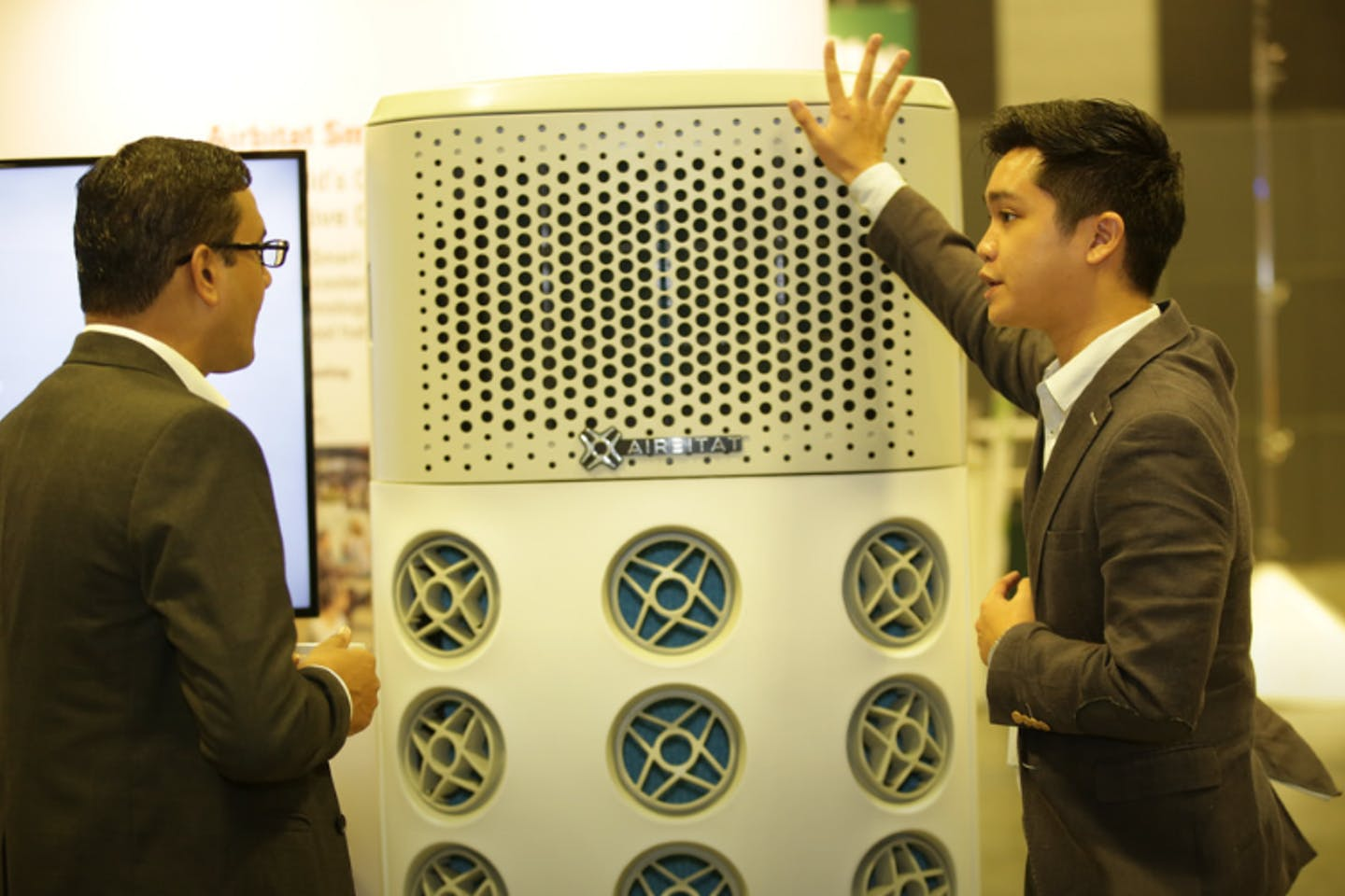 An energy-efficient cooler from Airbitat was one of the exhibits at the Sustainable Solutions Expo. Image: UN Global Compact Network Singapore