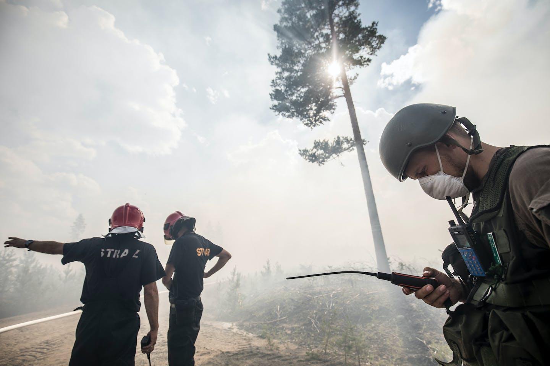 Firefighters battle the blaze in Sweden in the summer of 2018