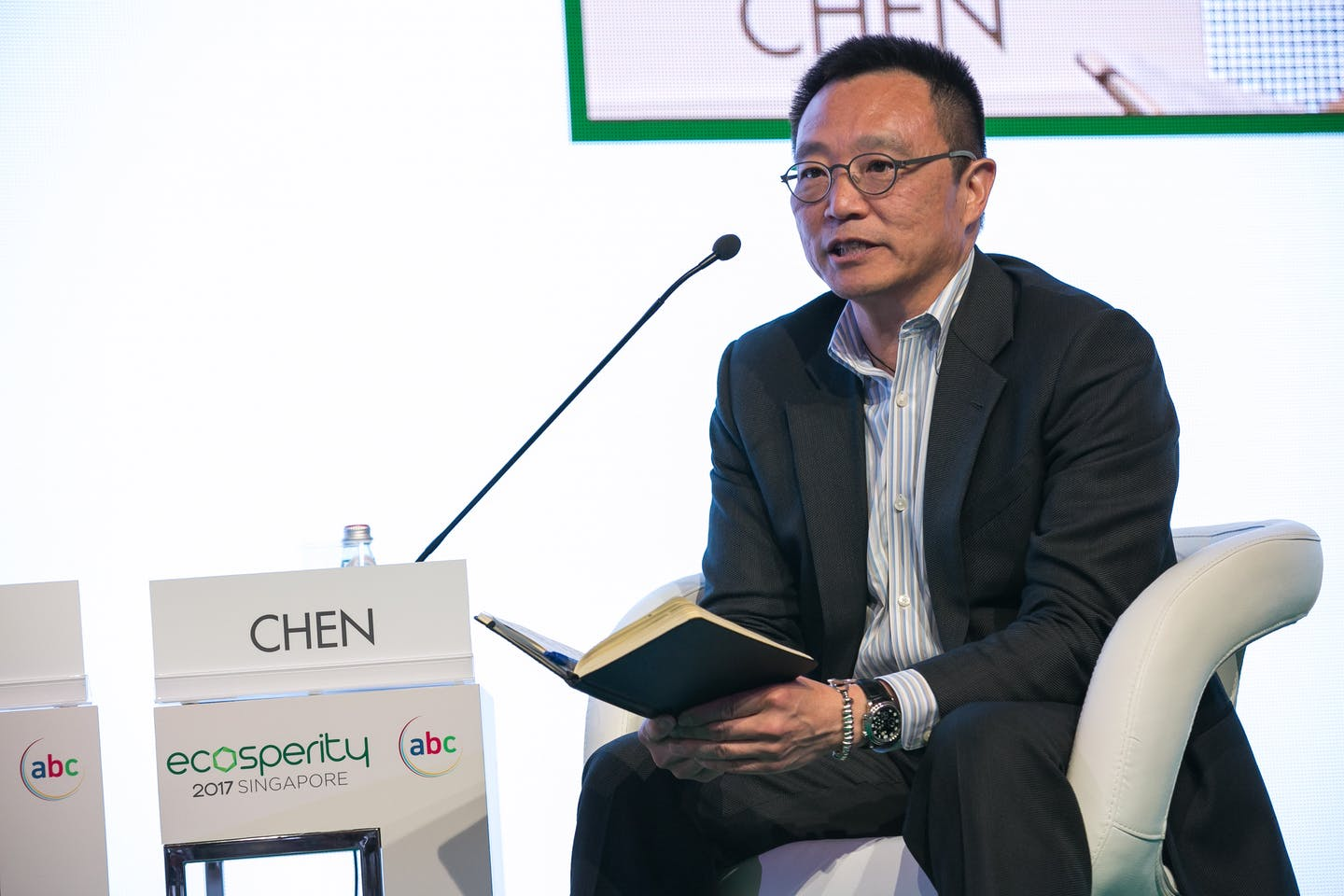 "Dave Chen, chairman and founder of Equilibrium Capital, talks at Ecosperity. ""Sustainability is oftentimes about the little things,"" says Chen. Image: Temasek"