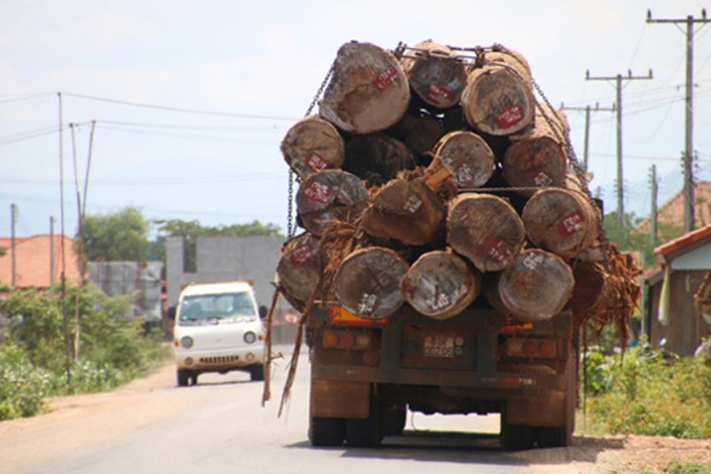Timber being hauled in Laos