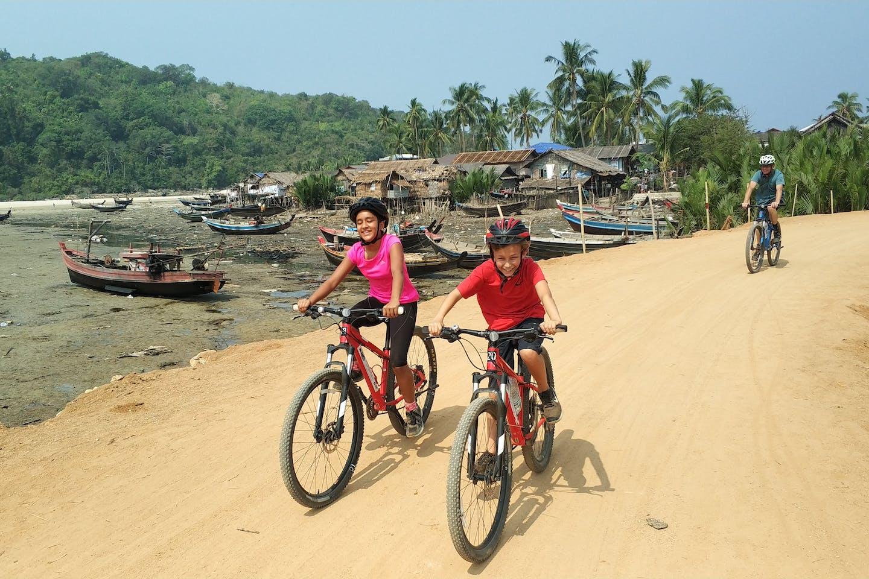 Tourists on a biking tour
